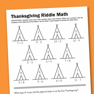 Worksheet Wednesday: Thanksgiving Math Riddle