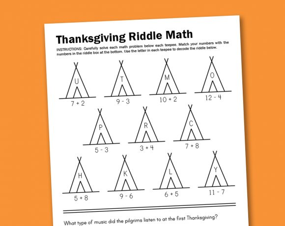 Worksheet Wednesday: Thanksgiving Math Riddle