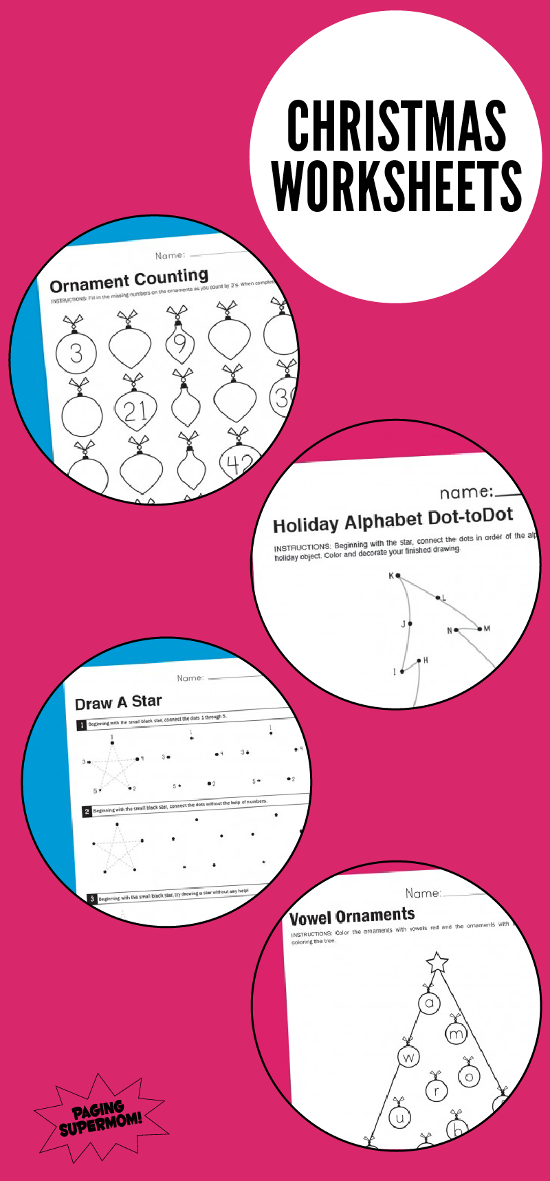 Free Printable Christmas Worksheets via @PagingSupermom