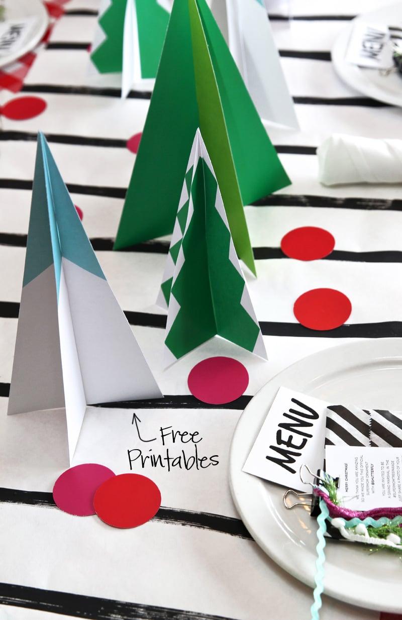 Mod Christmas Tree Centerpiece Table Runner