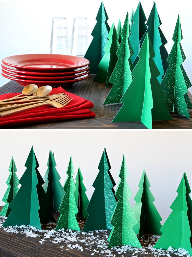 Free Printable Christmas Trees to make a table runner or decorate your Christmas mantel