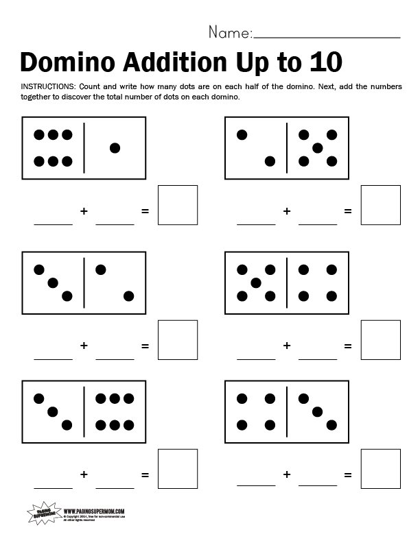 Domino Worksheet Adding Up to 10 Paging Supermom – Dominoes Math Worksheets