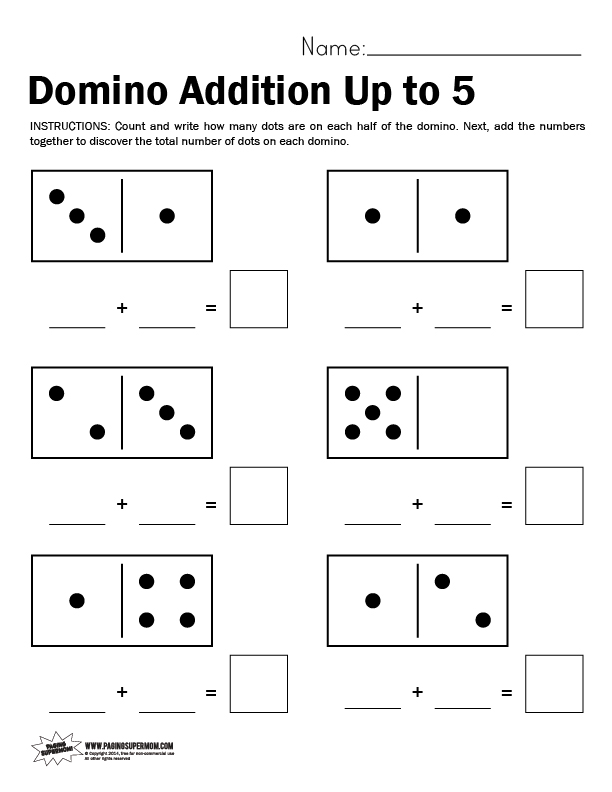 Domino Math Worksheet, Adding Up to 5 - Paging Supermom