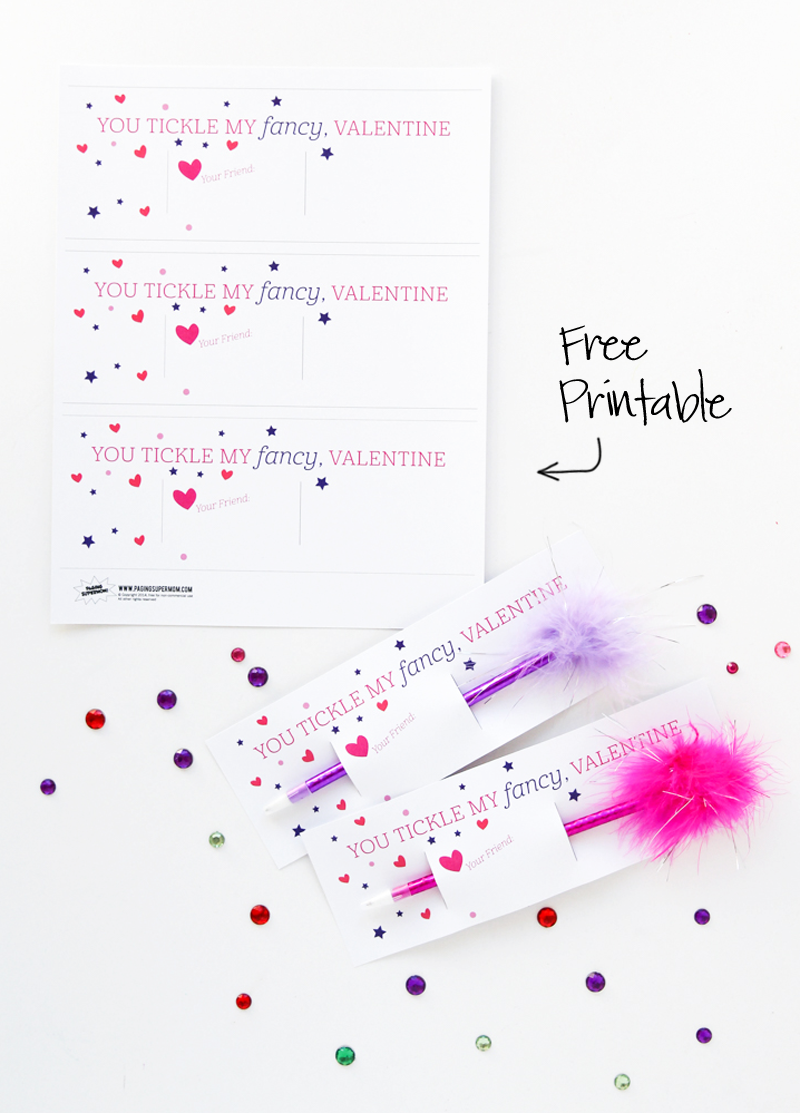 Free Printable Fancy Nancy Feather Pen Valentine