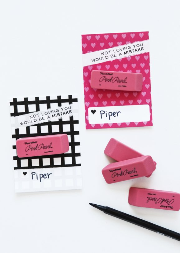 Pink Eraser Class Valentines idea from @PagingSupermom