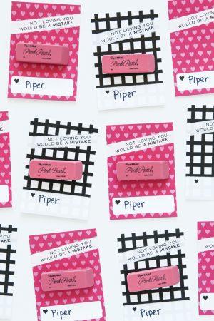 Pink Eraser Class Valentines idea from @PagingSupermom