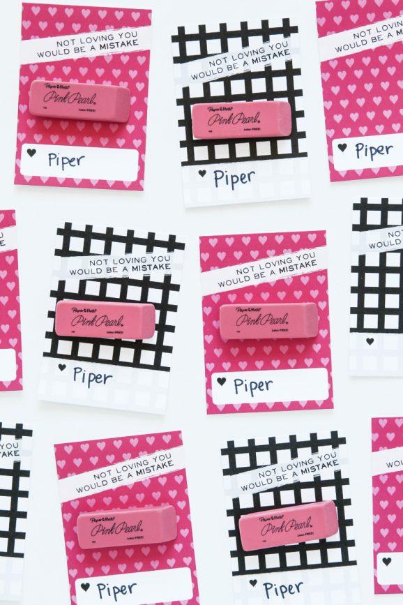 Pink Eraser Valentines -- class valentine idea from @PagingSupermom