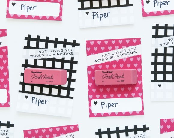 Pink Eraser Valentine Free Printable