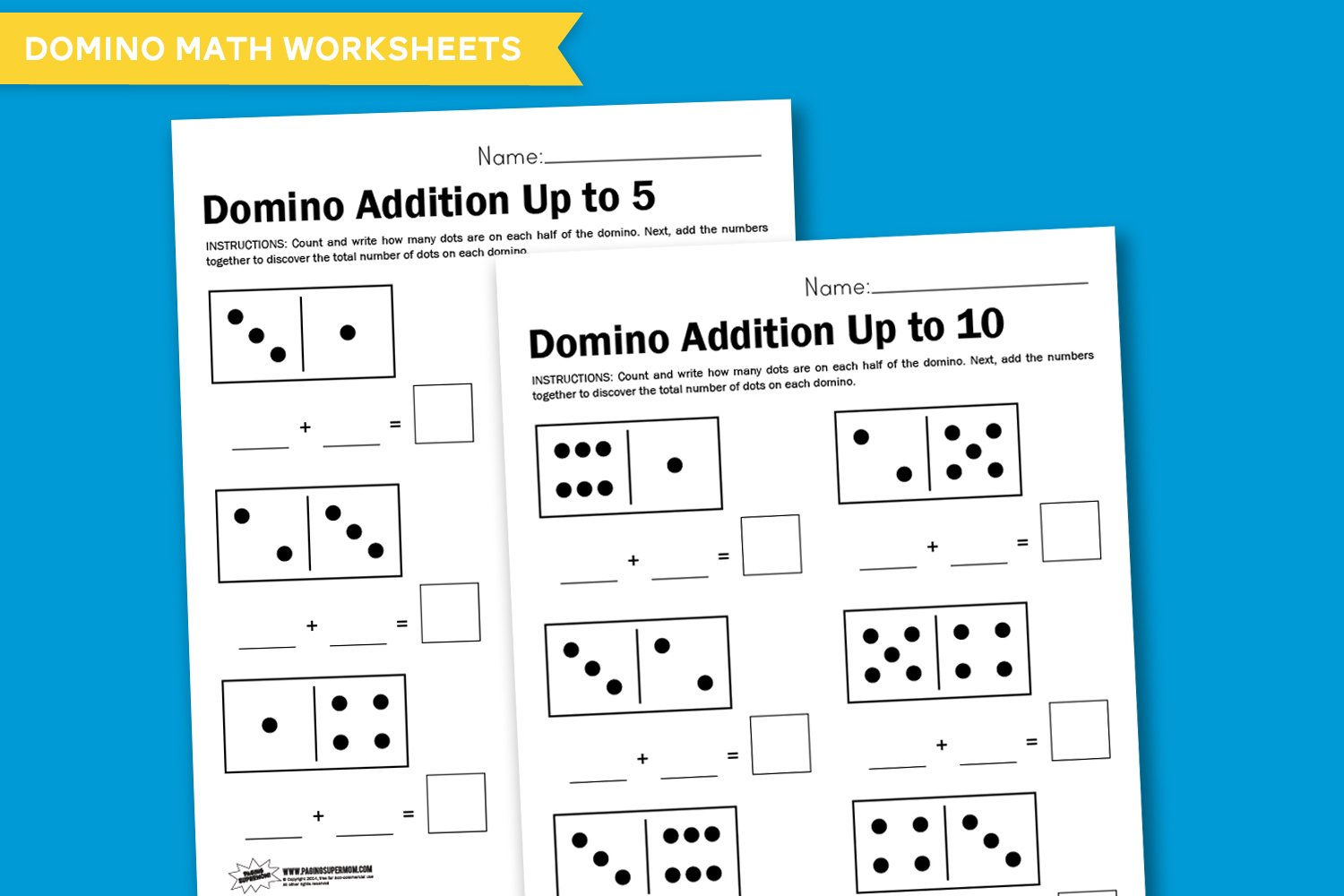 Worksheet Wednesday: Domino Math - Paging Supermom