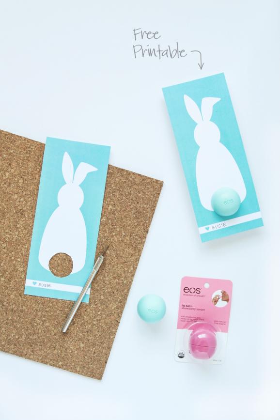 Free Printable Easter Bunny Card for EOS Lip Balm via @PagingSupermom