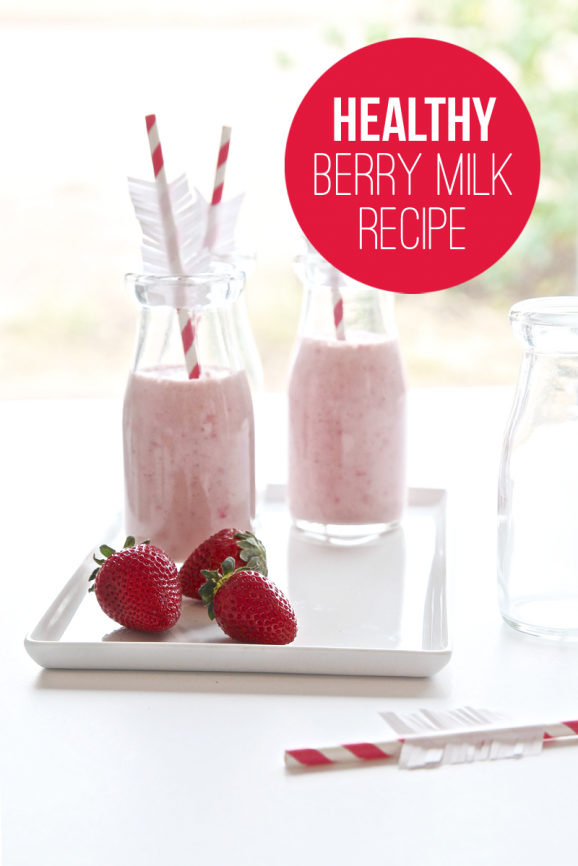 Recipe for Healthy Strawberry Milk via @PagingSupermom