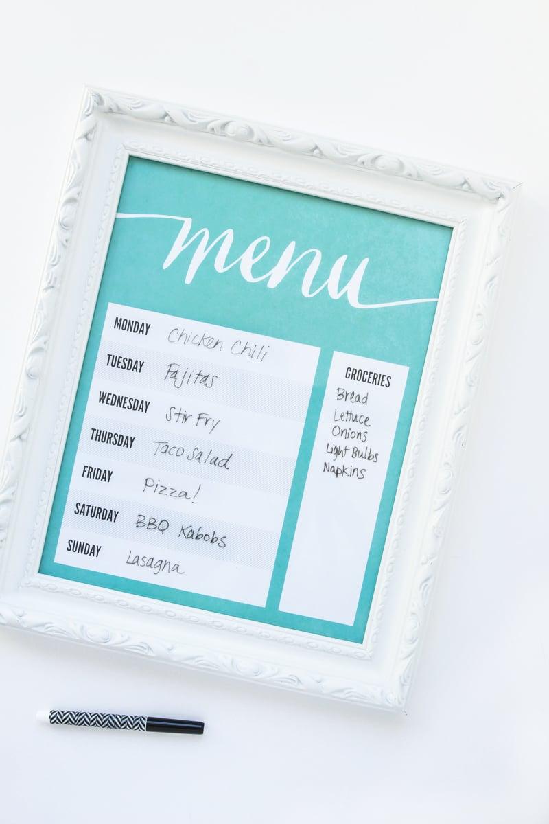 Make A Dry Erase Menu Board