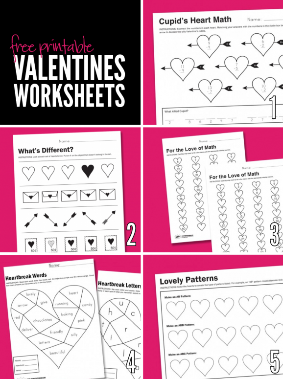 Free Printable Worksheets for Valentine's Day via @PagingSupermom