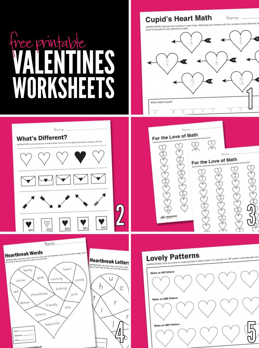 Free Printable Worksheets for Valentine's Day via @PagingSupermom