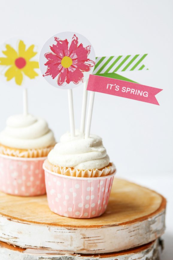 "Love these Spring ""Bloom"" Free Printable Party Flags and Toppers via @PagingSupermom"