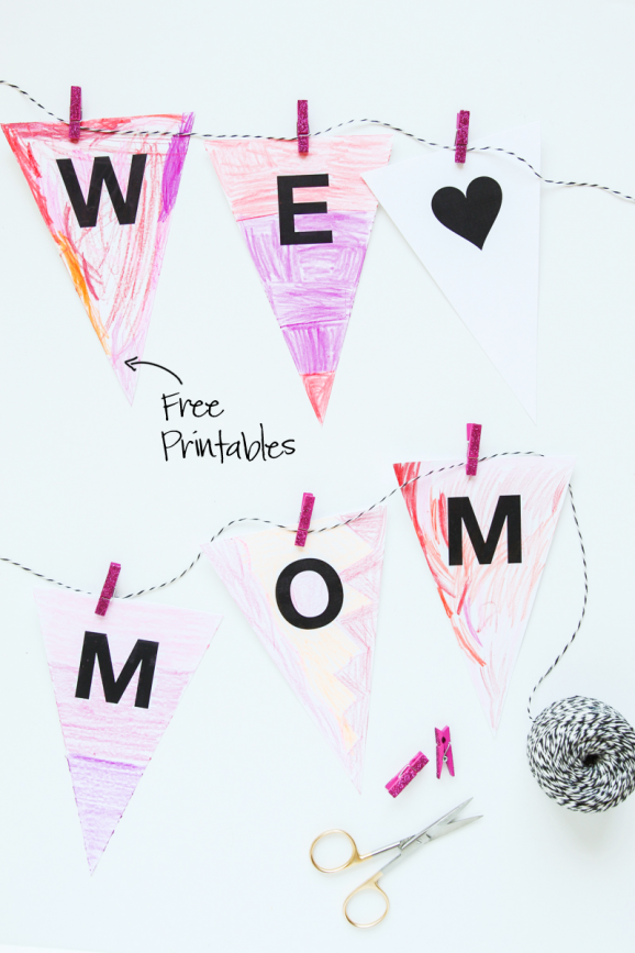 we heart mom coloring banner paging supermom