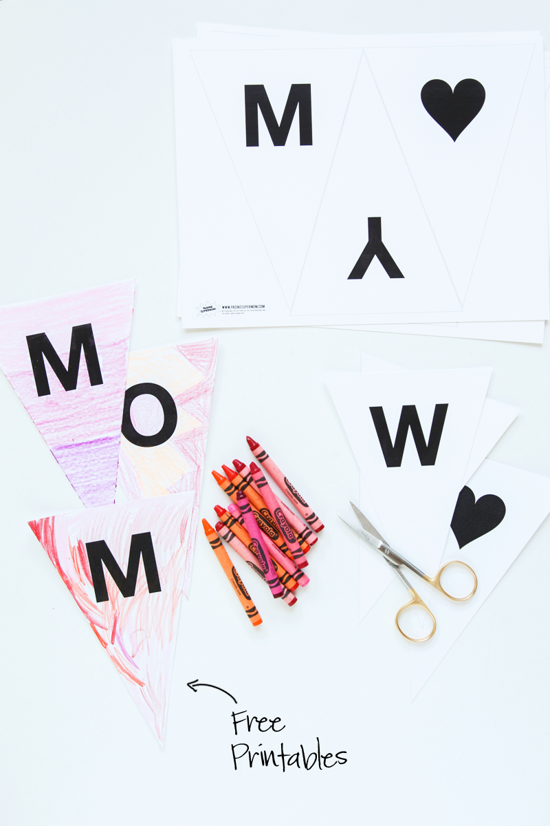 Free Printable We Heart Mommy Banner