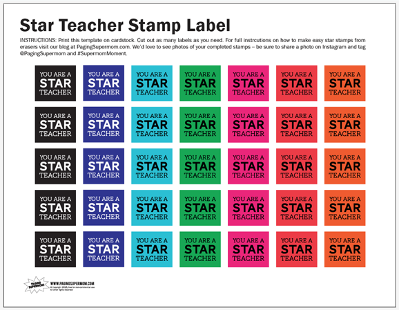 Free Printable Teacher Appreciation Stamp Label