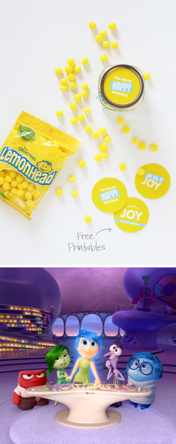 Free Printable Joy gift tags or party favors, inspired by Disney's Inside Out Movie via @PagingSupermom