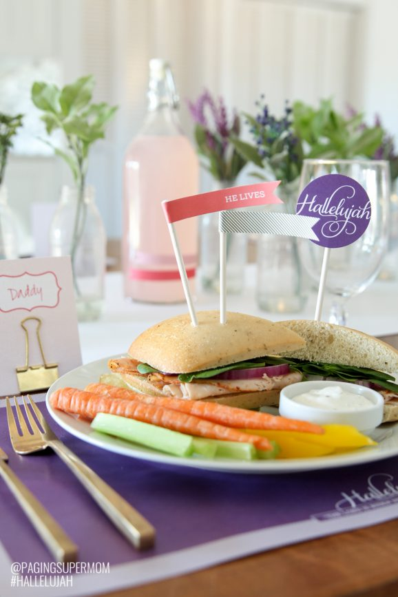 #Hallelujah Easter Dinner Table Settings including free Printable Easter Decorations from @PagingSupermom & Hallelujah Free Printable Easter Dinner Ideas - Paging Supermom
