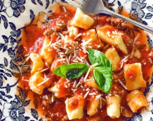 Ricotta Gnocchi with Meat Sauce