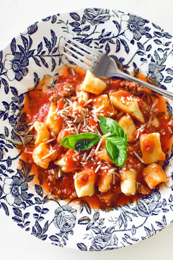 Ricotta Gnocchi with Meat Sauce - Paging Supermom