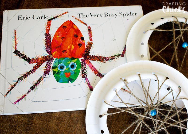 "From Eric Carle (The Very Hungry Catterpillar) this is ""The Very Busy Spider"" and here's a fun project to do with your kiddos after reading it #booksalive"