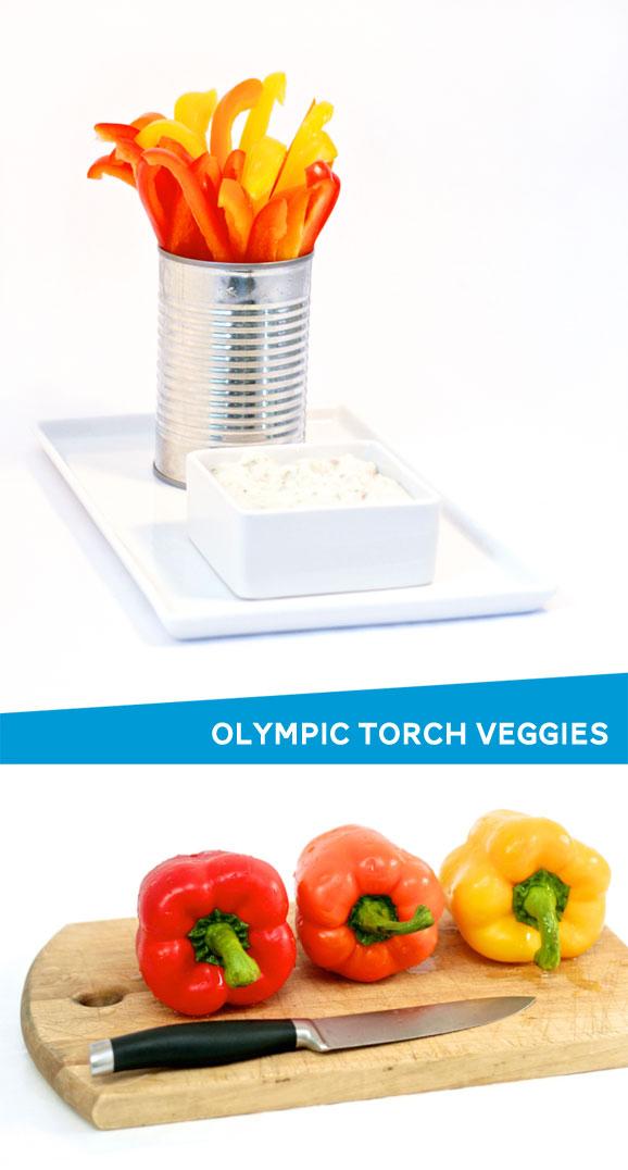 Olympic Torch Veggie Tray idea via @PagingSupermom
