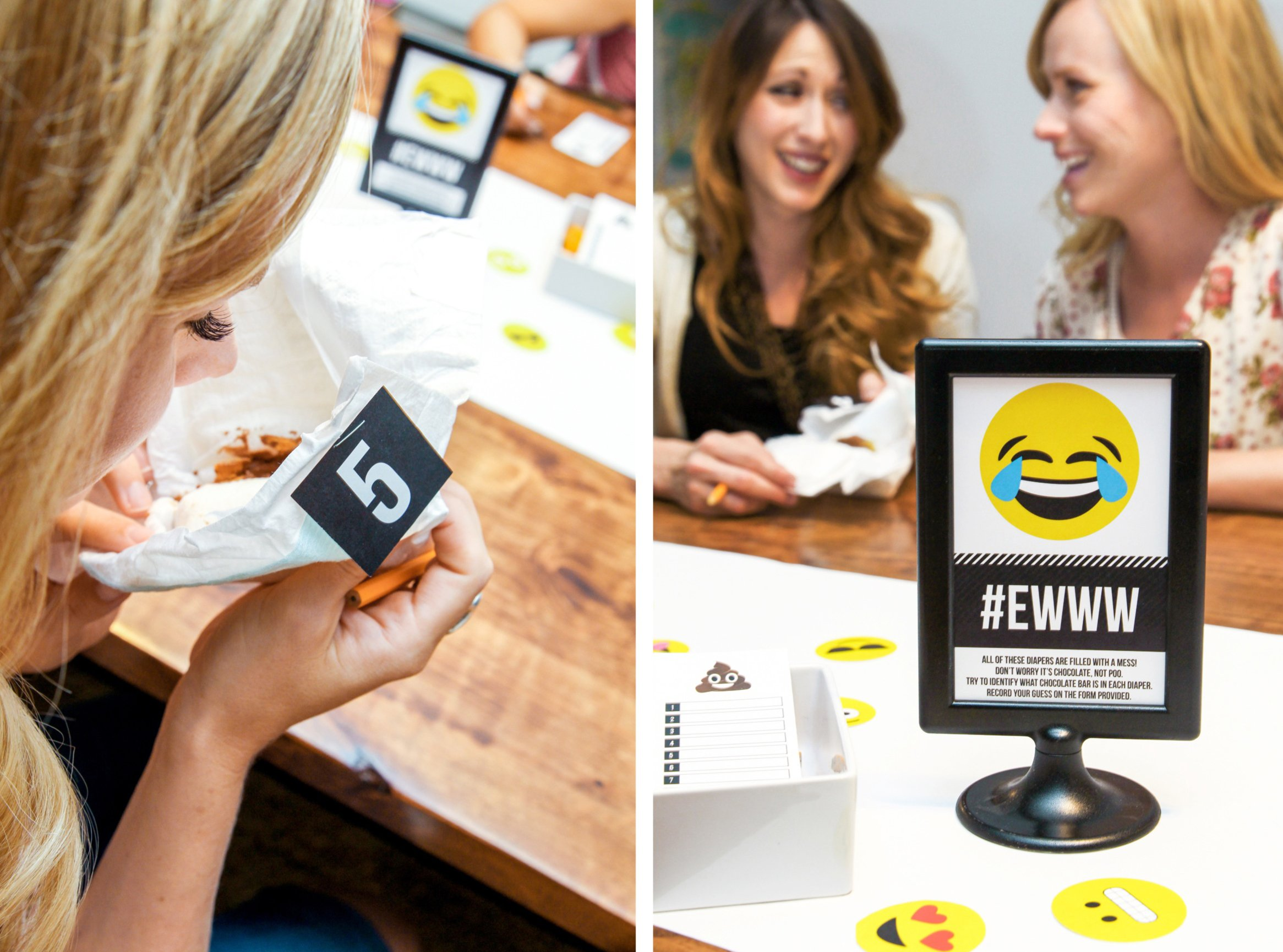 You know that Candy Bar in the Diaper Game at Baby Showers? I'm totally grossed out normally, but it's actually pretty perfect for an Emoji Baby Shower. Get the free printable game pieces inspired by the Poo Emoji LOL! via @PagingSupermom