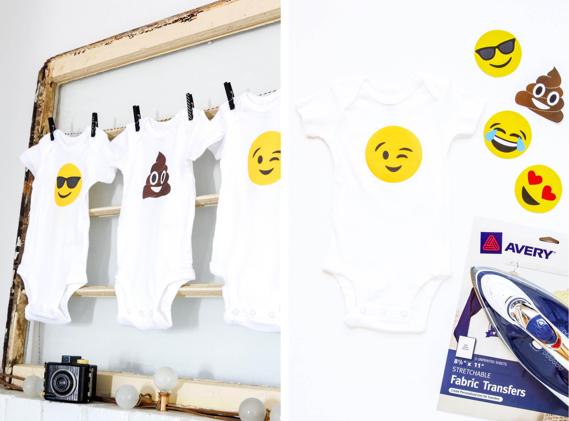 Make this DIY Poo Emoji Onesie for a Baby Shower -- get this printable template with all the popular emojis from @PagingSupermom