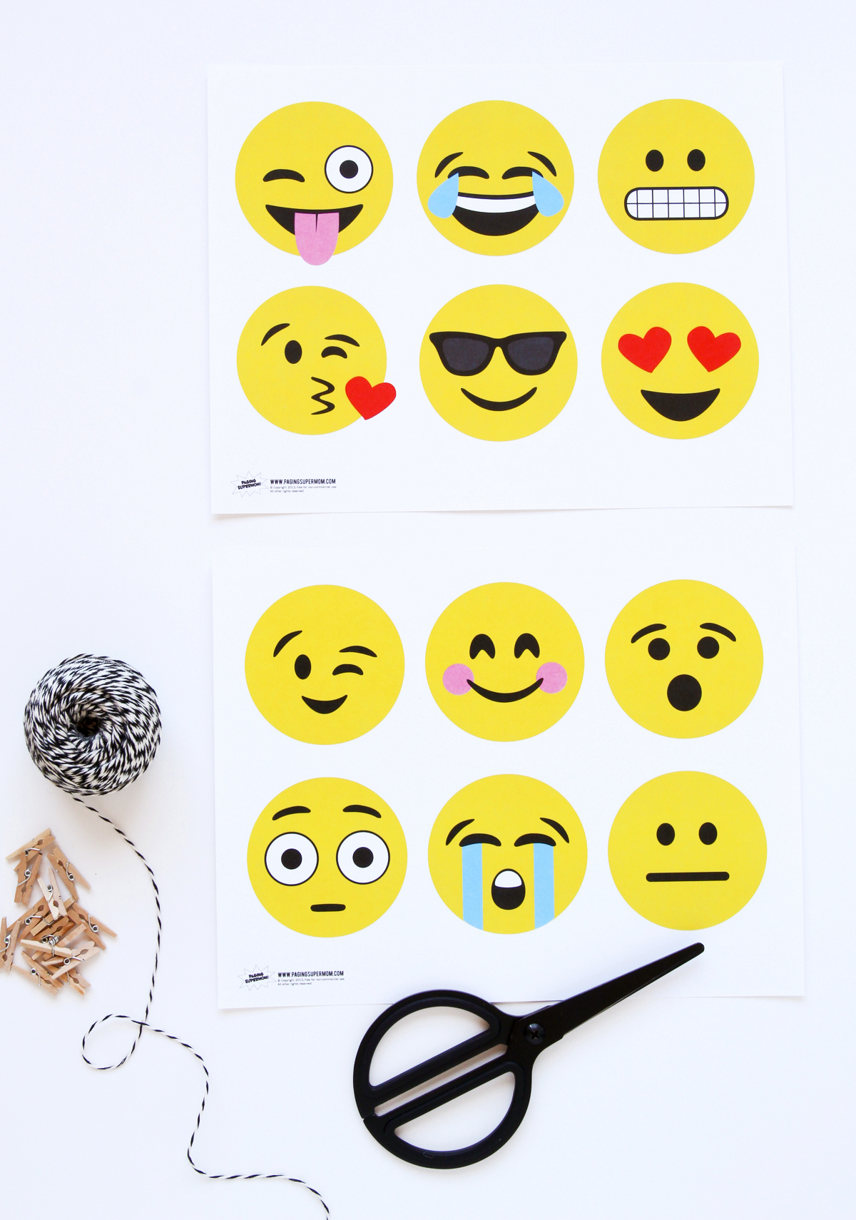 Printable Emojis Cutouts for a banner, gift tags or notecards via @PagingSupermom