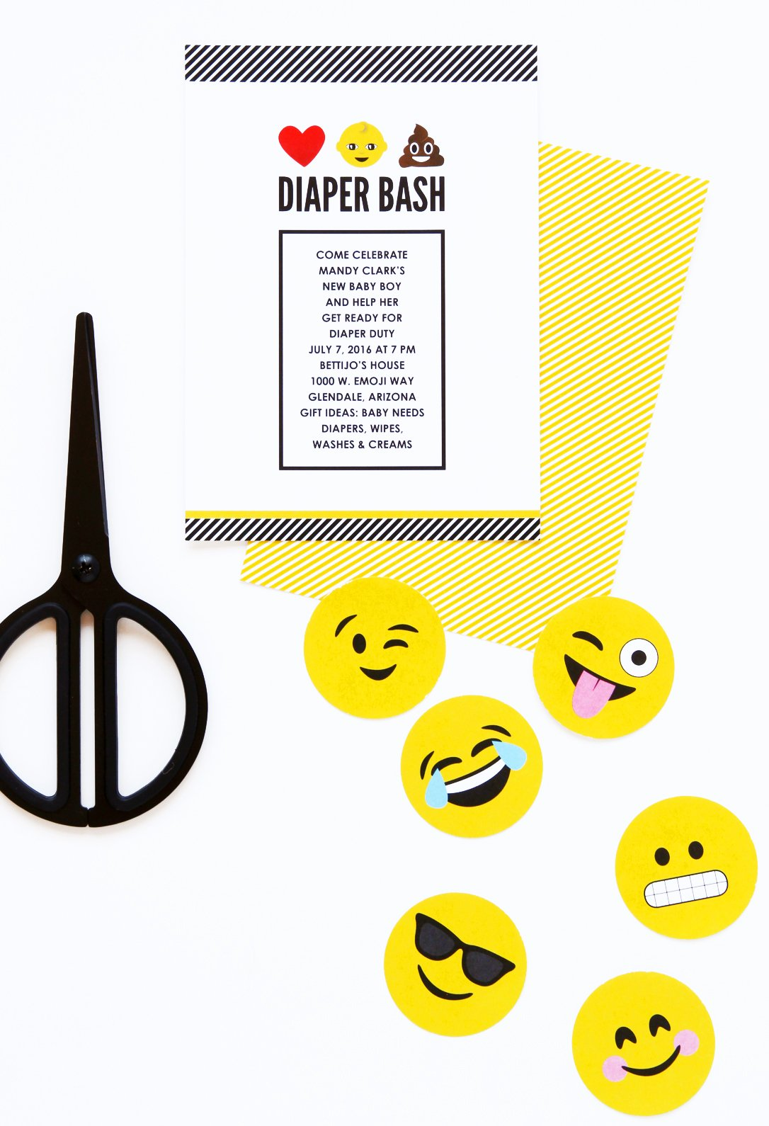 "LOL! I love this Diaper Bash Emoji Baby Shower inspired by the ""Poo Emoji"" -- lots of good ideas for an Emoji Party @PagingSupermom"
