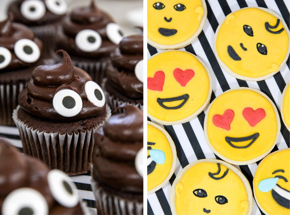 Love these Emoji Party Ideas & Emoji Sugar Cookies + Poo Emoji Cupcakes -- You gotta have Emoji Treats for an Emoji Party from @PagingSupermom -- there are a ton of cute free printables including EDITABLE black-stripe food tags