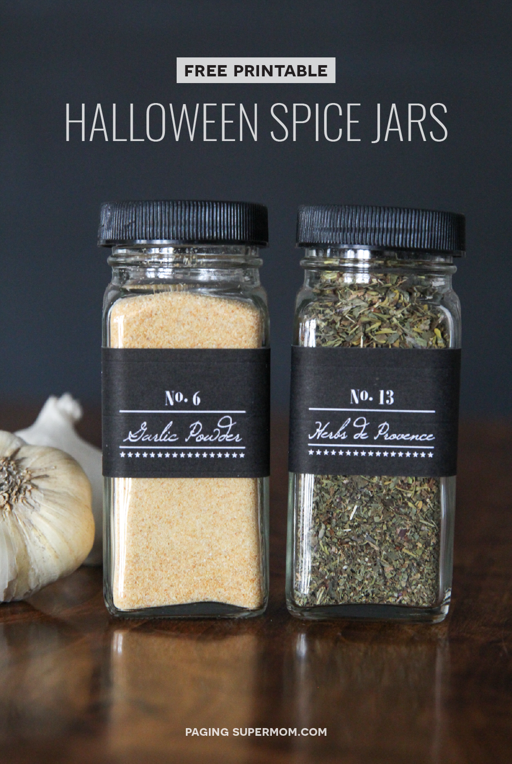 "Halloween Gift Idea: Cute Spice Jar Labels for ""Salem Supply Co."" with FREE printable from @PagingSupermom"