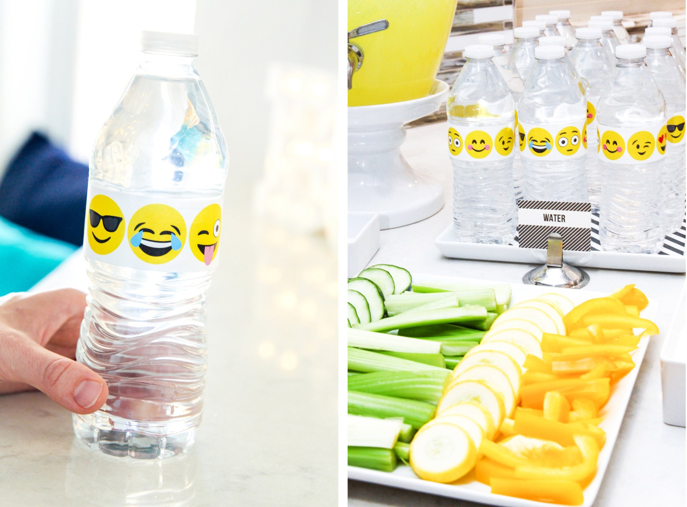 Love this Emoji Water Bottle Wraps plus EDITABLE Black Stripe Food Tags -- so many great FREE Printables and Emoji Party Ideas in this post @PagingSupermom