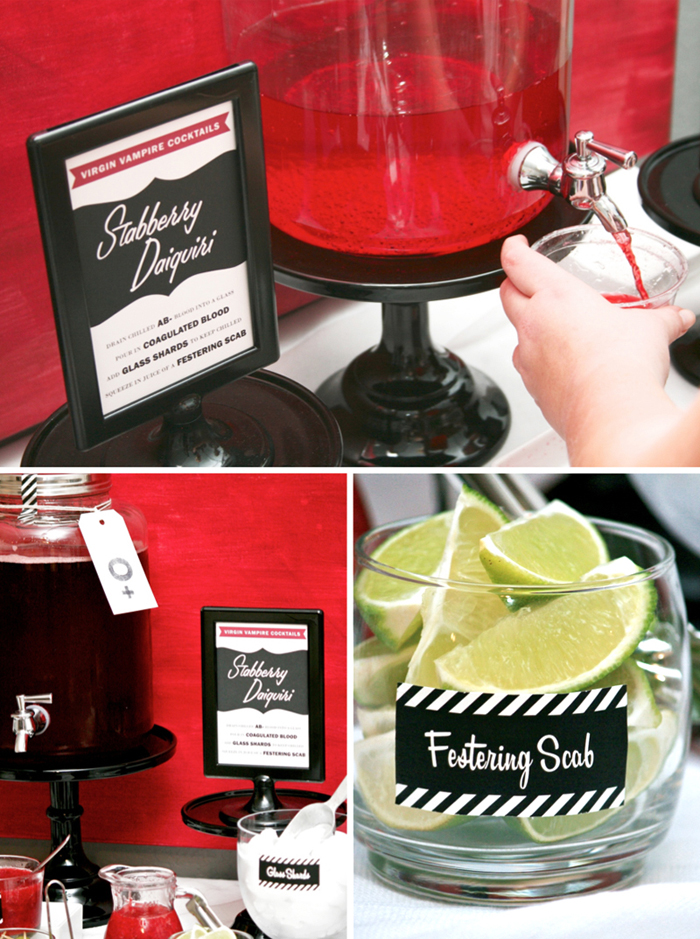Blood Bar Printables for making Vampire Cocktails from @PagingSupermom
