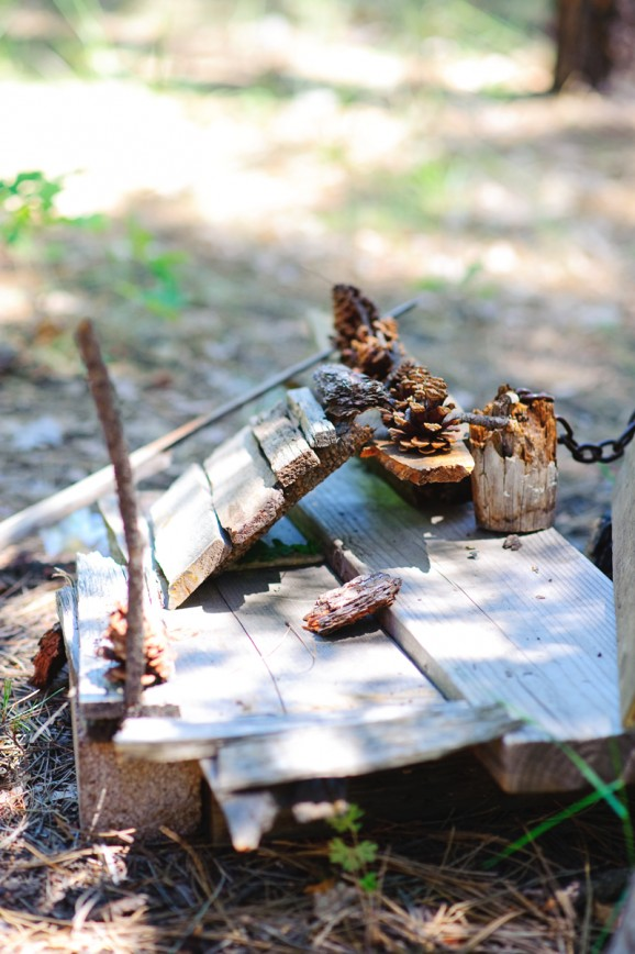 Gnome houses in the forest made by kids while camping via @PagingSupermom
