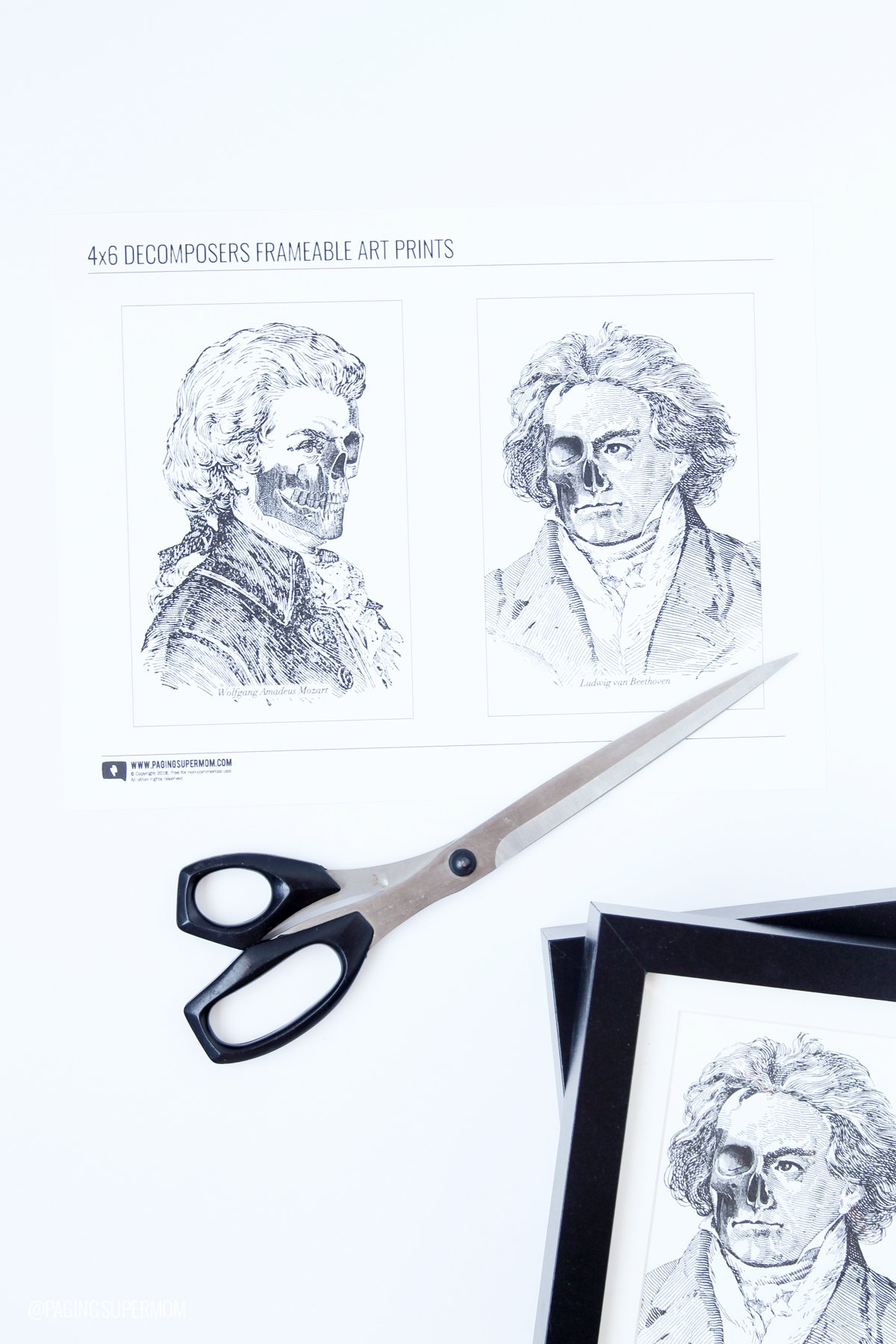 Free Halloween decor prints - Zombie Composers Beethoven and Mozart - free prints from @PagingSupermoms