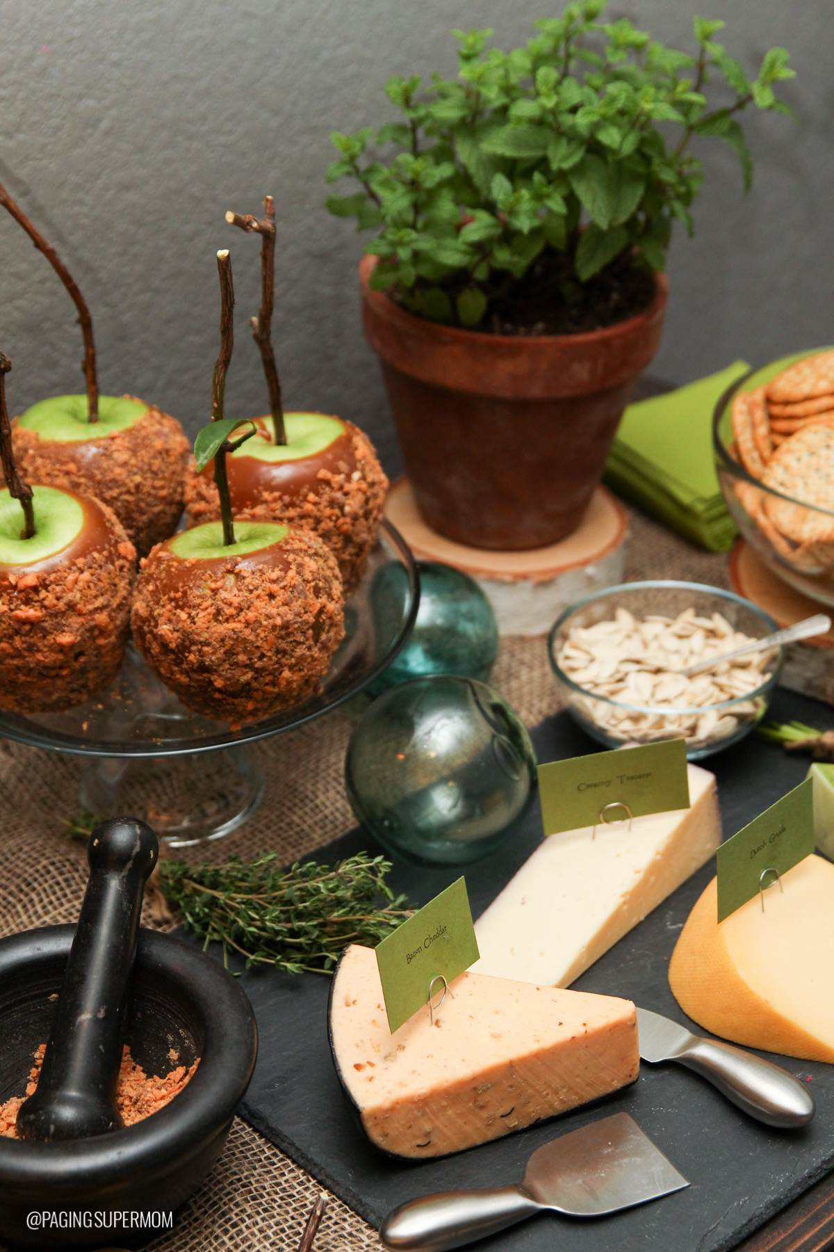 "Appetizers for Bettijo's Woodland Witch Halloween dinner party included ""moldy"" cheese and caramel ""poison"" apples via @PagingSupermom"