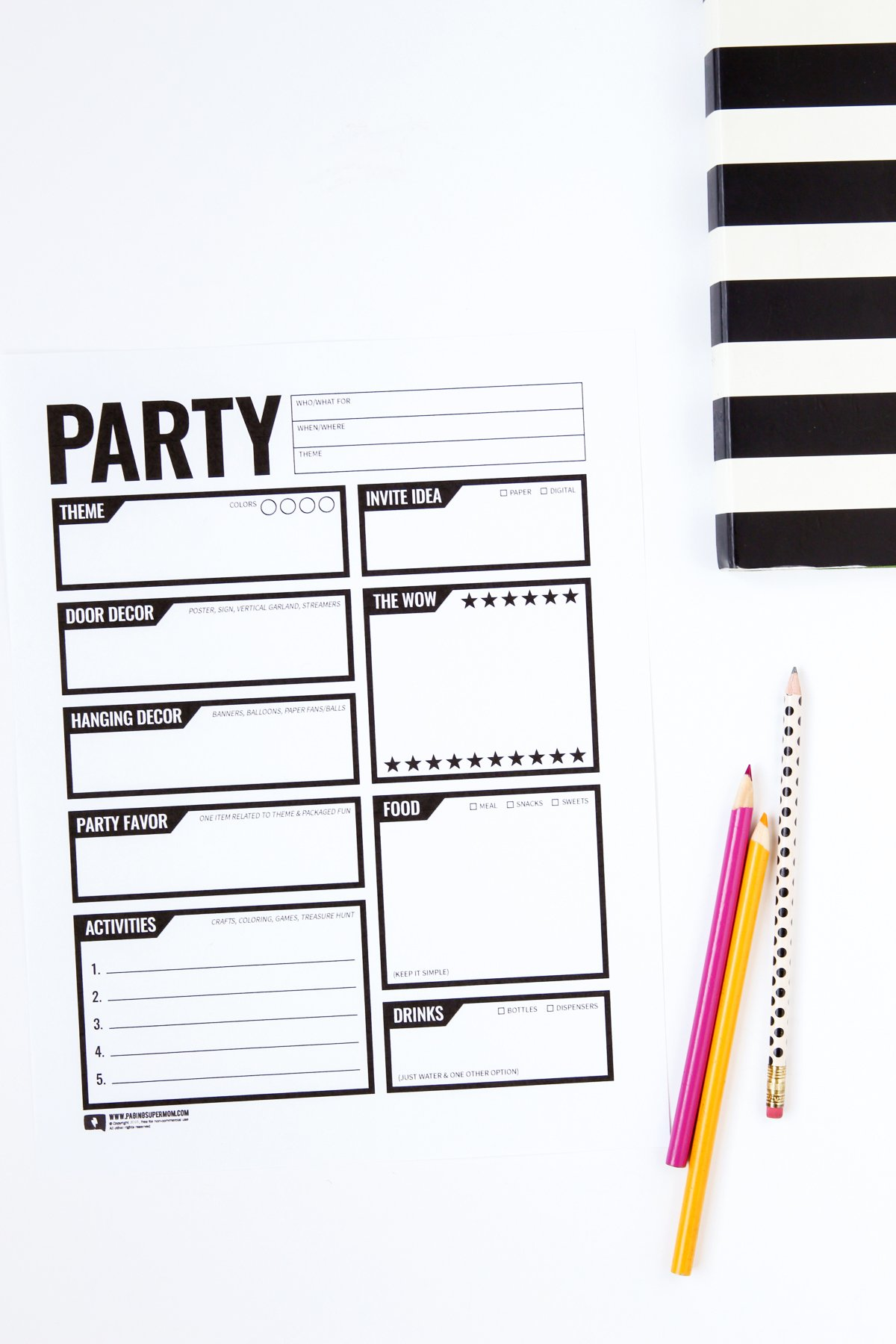 Love this free printable party planning worksheet via @PagingSupermom