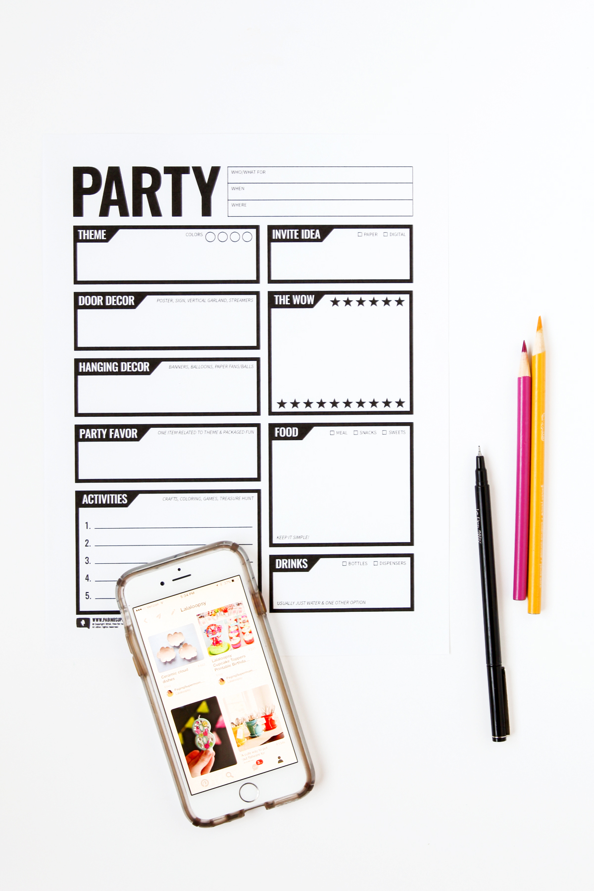 paging supermom's free printable party planner