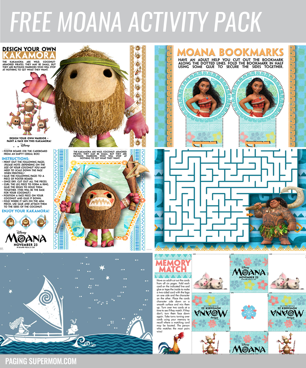 Free Printable Moana Activity Pack Paging Supermom
