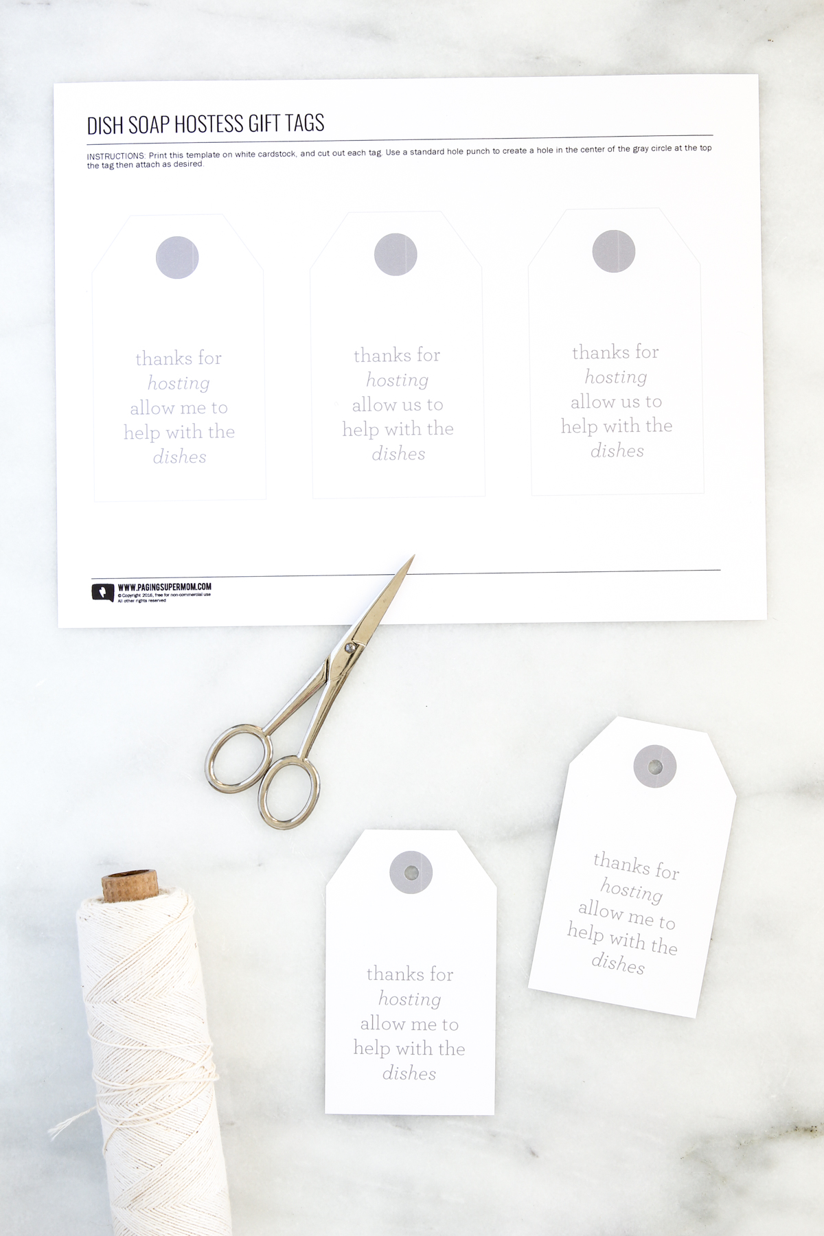 Free printable hostess gift tags