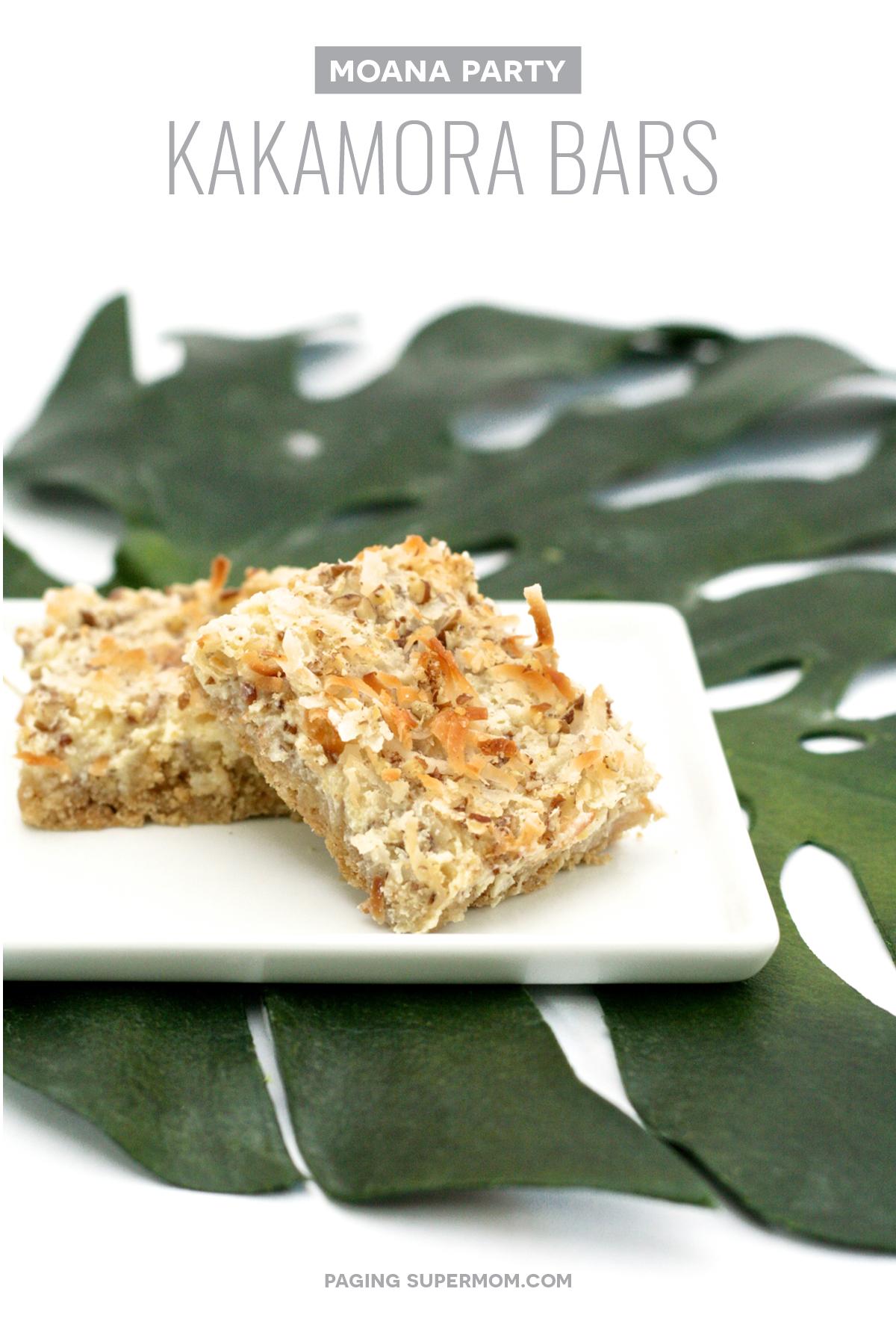 Moana Party Food Ideas: Coconut Kakamora Treat Bars. Recipe via @PagingSupermom