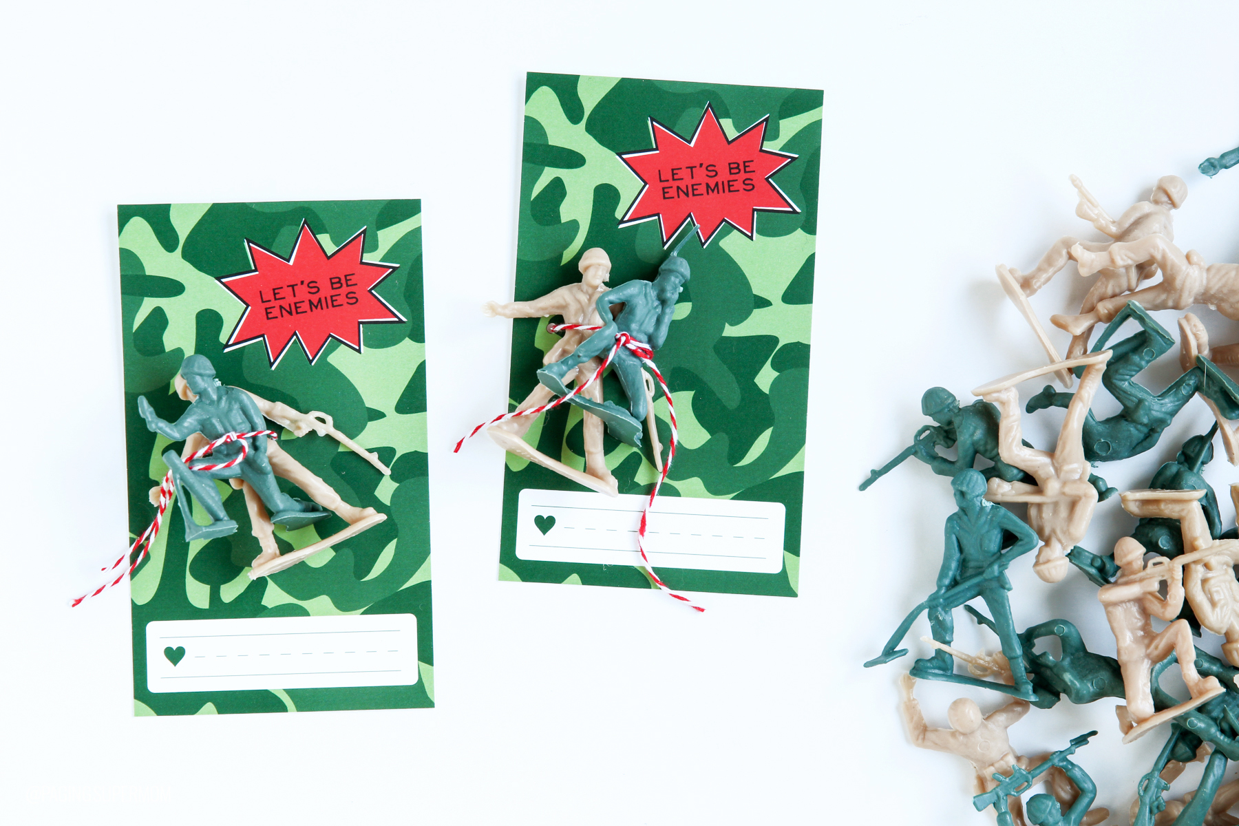 Love these Boys Valentines Ideas - download this free printable class valentine template for Army Guys via @PagingSupermom