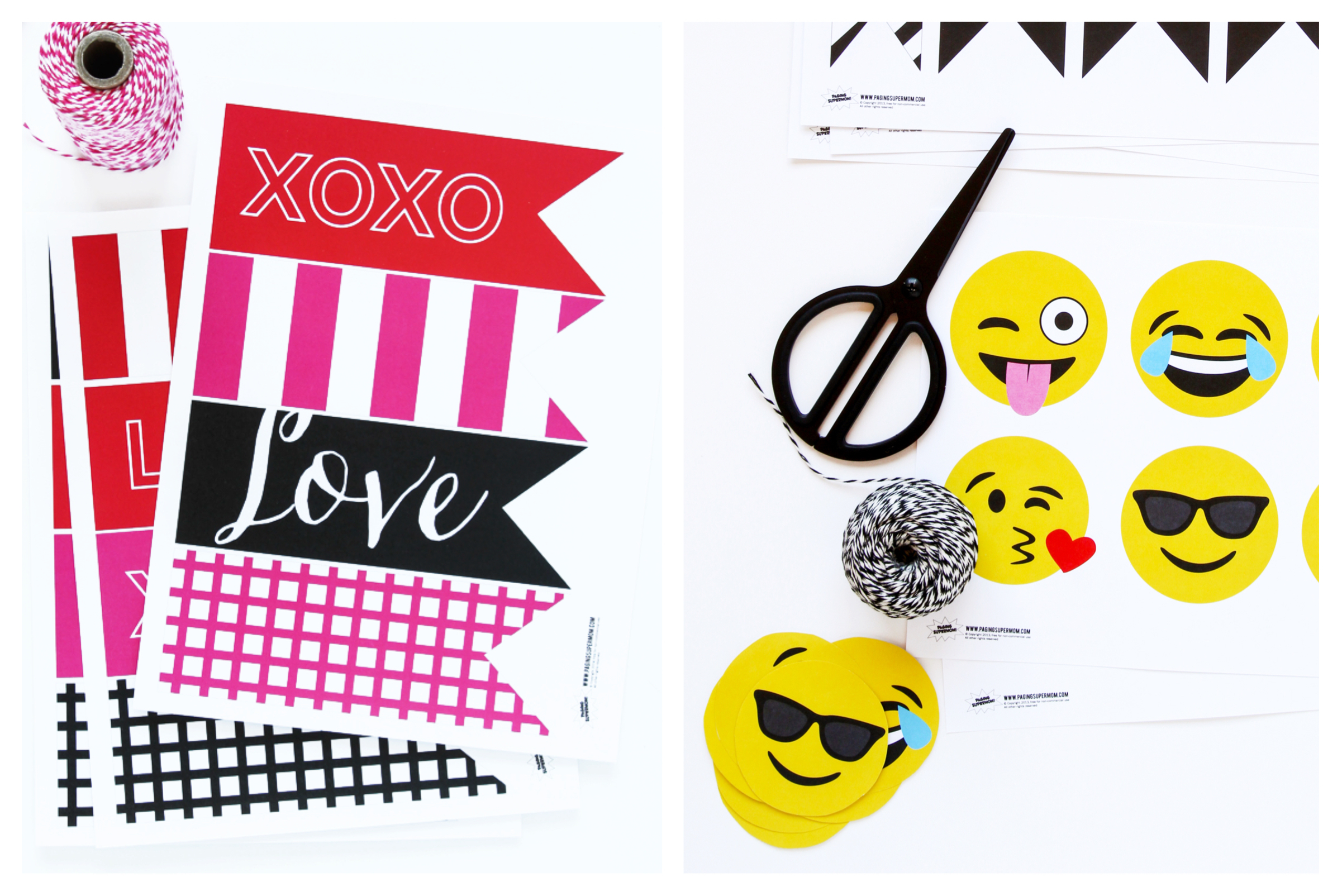 Emoji Valentine's Decor with free printable via @PagingSupermom