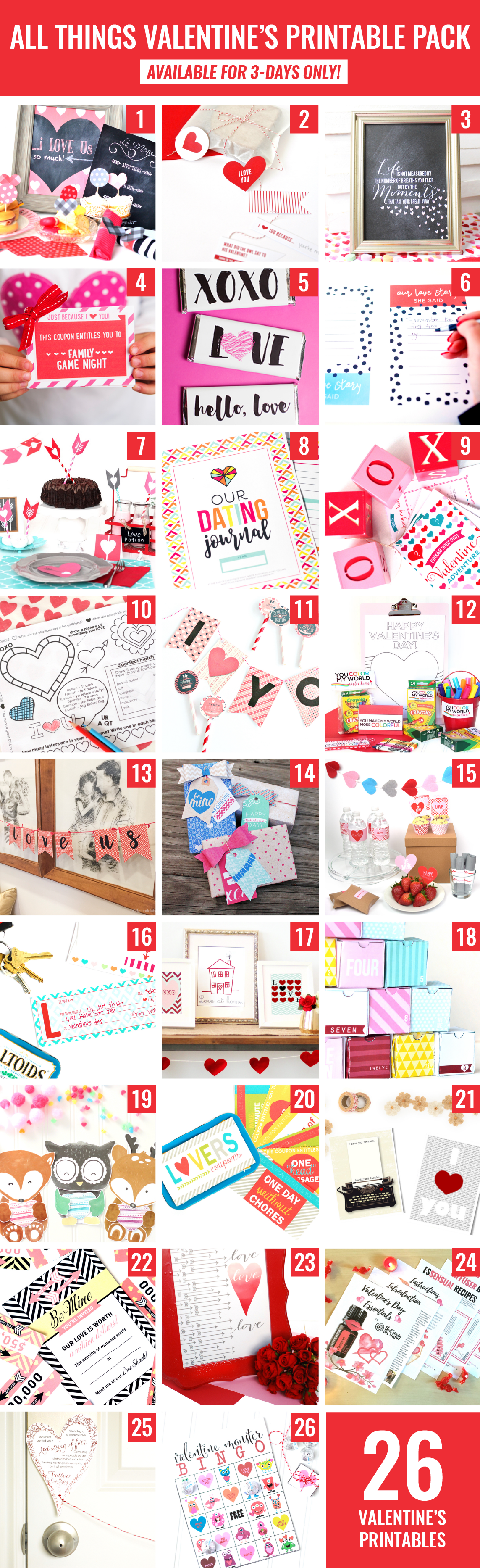 LIMITED TIME: Valentine's Printable Bundle - 200 Pages of Adorable Designs via @PagingSupermom