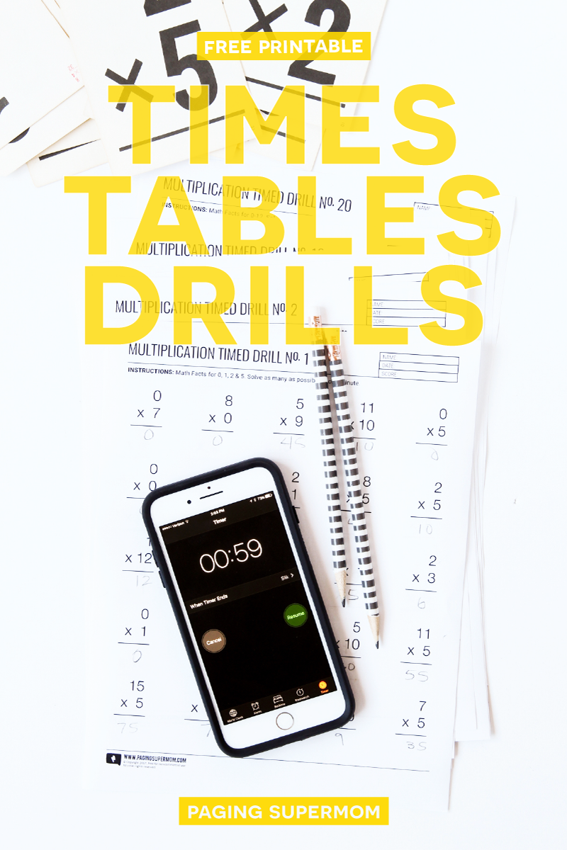 20 FREE Printable Multiplication Worksheets - a month's worth of timed tests via @PagingSupermom