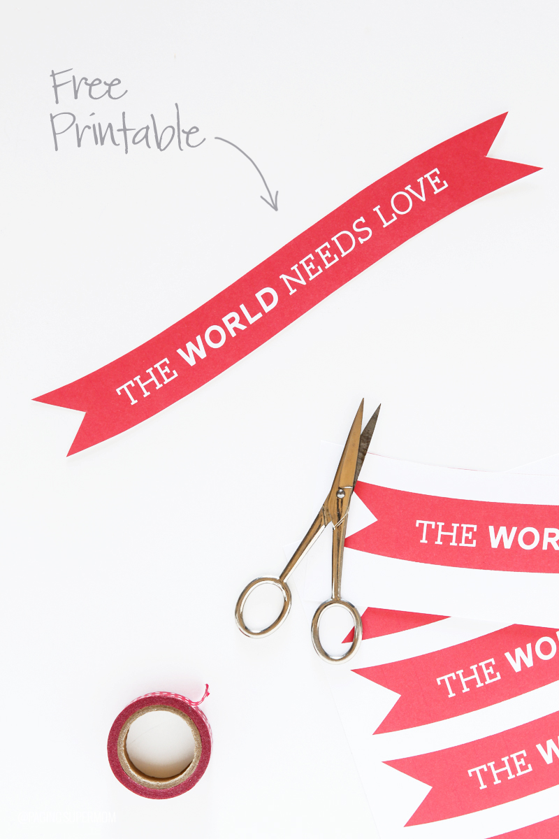 Easy Valentine's Decor idea! Download this free printable template from @PagingSupermom