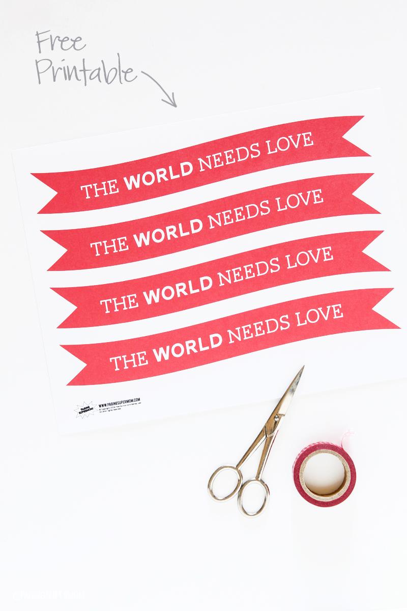 Free Printable Valentine's Globe Banner